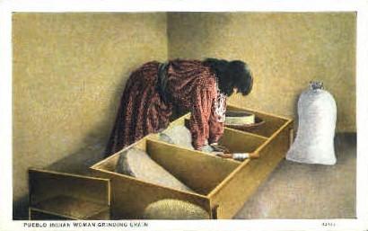 Pueblo Indian Woman Grinding Grain - Misc, New Mexico NM Postcard