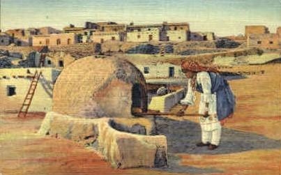 Pueblo Indian Woman Baking Bread - Misc, New Mexico NM Postcard