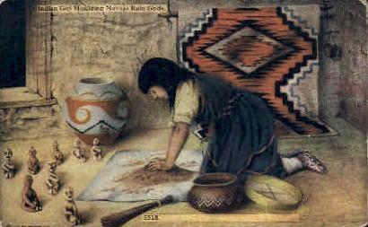 Girl Moulding Navajo Rain Gods - Misc, New Mexico NM Postcard