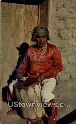 Pueblo Indian Drummer - Cochiti Pueblo, New Mexico NM Postcard