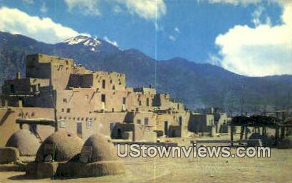 Vista of Taos Pueblo - New Mexico NM Postcard
