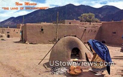 Indian Woman - Taos Pueblo, New Mexico NM Postcard
