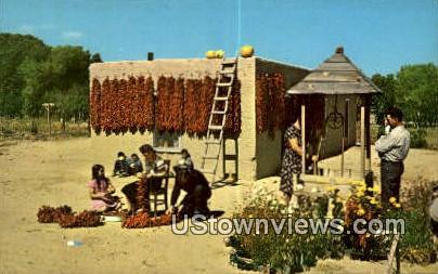 Stringing Chili - Misc, New Mexico NM Postcard