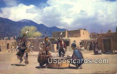 Taos Dancers - Taos Pueblo, New Mexico NM Postcard