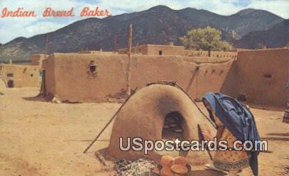 Indian Woman Baking - Taos Pueblo, New Mexico NM Postcard