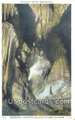 Waterfall Formation, Big Room - Carlsbad Caverns, New Mexico NM Postcard