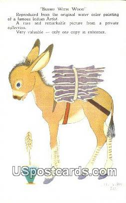 Burro with Wood - Misc, New Mexico NM Postcard