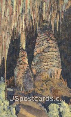 Stalagmites, Sun Temple - Carlsbad Caverns, New Mexico NM Postcard