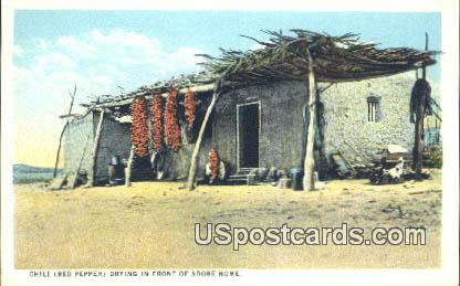 Chili Red Pepper, Adobe Home - Misc, New Mexico NM Postcard