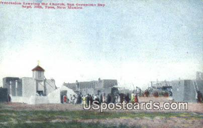 Procession Leaving the Church, Sept 30 - Taos, New Mexico NM Postcard