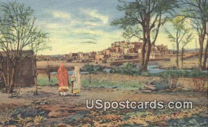 Indian Pueblo of Settlement - Pueblo de Taos, New Mexico NM Postcard