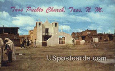 Taos Pueblo Church - New Mexico NM Postcard
