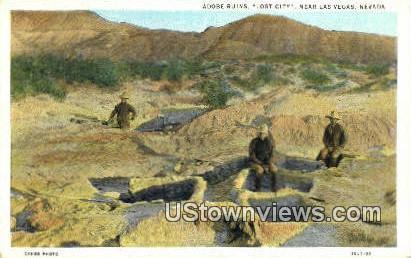 Adobe Ruins, Lost City - Las Vegas, Nevada NV Postcard