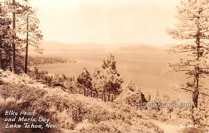 Elks Point and Marla Bay - Lake Tahoe, Nevada NV Postcard