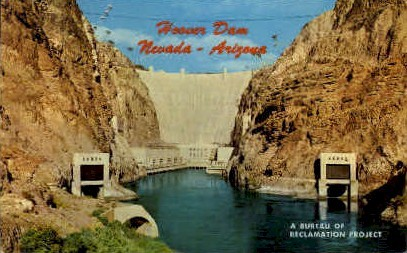 A Bureau of Reclamation Project - Hoover (Boulder) Dam, Nevada NV Postcard