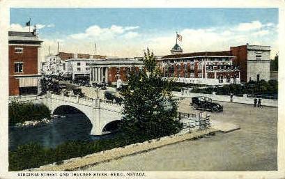 Virginia Street and Truckee River - Reno, Nevada NV Postcard
