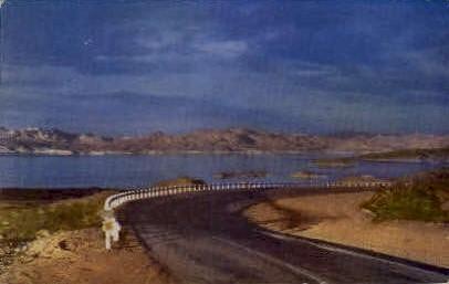 Highway and Lake Mead - Nevada NV Postcard