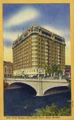 New Hotel Mapes and Truckee River - Reno, Nevada NV Postcard