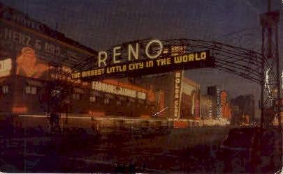 Reno Arch at Night - Nevada NV Postcard