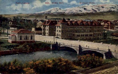 Public Lilbrary and Riverside Hotel - Reno, Nevada NV Postcard