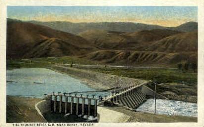 The Truckee River Dam - Derby, Nevada NV Postcard