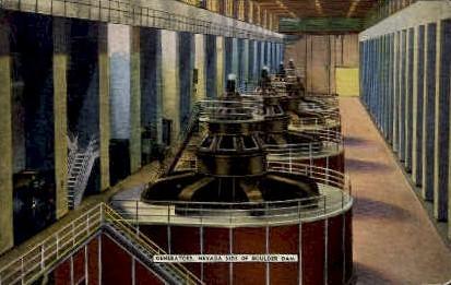 Generators of Nevada Side of Boulder Dam - Las Vegas Postcard