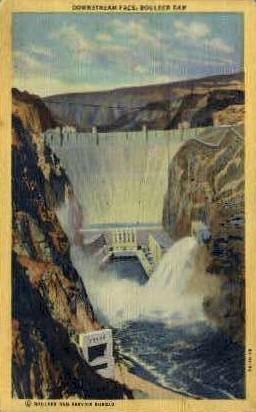Downstream Face Boulder Dam - Las Vegas, Nevada NV Postcard