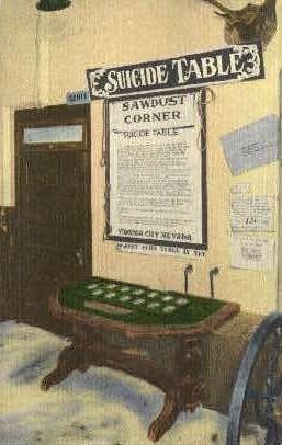 Suicide Table - Virginia City, Nevada NV Postcard