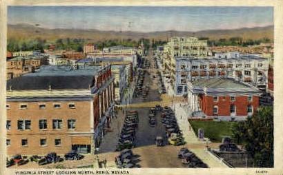 Virginia Street Looking North - Reno, Nevada NV Postcard