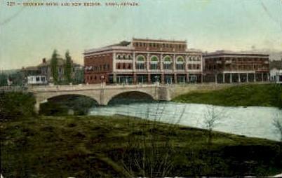 Truckee River and New Bridge - Reno, Nevada NV Postcard