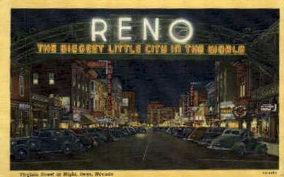 Virginia Street at Night - Reno, Nevada NV Postcard
