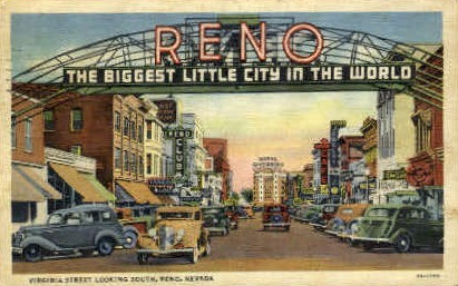 Virginia Street South - Reno, Nevada NV Postcard