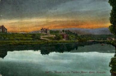 Sunset on Truckee River - Reno, Nevada NV Postcard