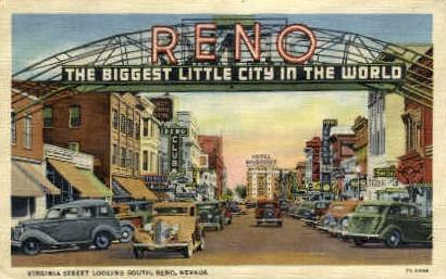 Virginia Street Looking South - Reno, Nevada NV Postcard