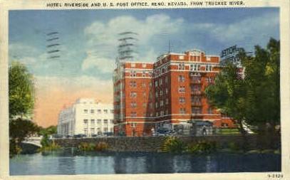 Hotel Riverside and Post Office - Reno, Nevada NV Postcard