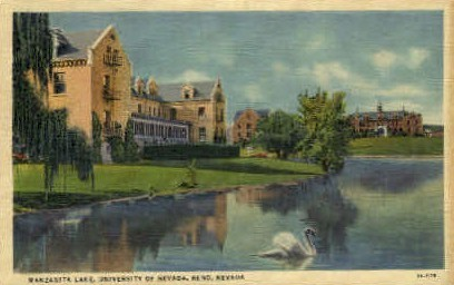 Univ. of Nevada, Manzanita Lake - Reno Postcard