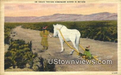 Indian Travois Homeward - Misc, Nevada NV Postcard
