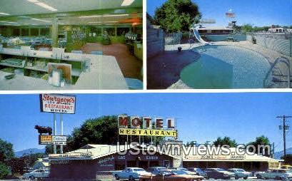 Sturgeon's Log Cabin Motel & Caf» - Lovelock, Nevada NV Postcard