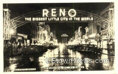 Real Photo - Virginia Street - Reno, Nevada NV Postcard
