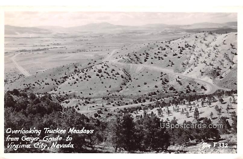 Overlooking Truckee Meadows - Virginia City, Nevada NV Postcard