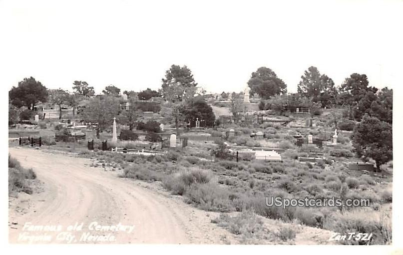 Famous Old Cemetery - Virginia City, Nevada NV Postcard