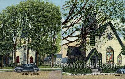 Baptist & Congregational Church - Arcade, New York NY Postcard