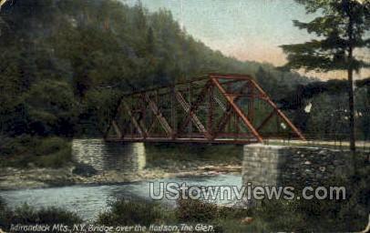 Bridge Over the Hudson, The Glen - Adirondacks, New York NY Postcard