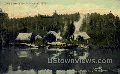 Camp Scene - Adirondacks, New York NY Postcard