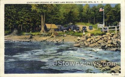 Lewey Lake Bridge - Adirondack Mts, New York NY Postcard