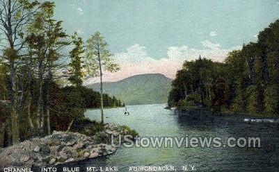 Channel into Blue Mt. Lake - Adirondacks, New York NY Postcard