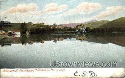 Reflection on Mirror Lake - Adirondack Mts, New York NY Postcard