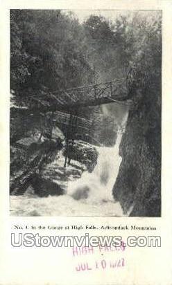 Gorge at High Falls - Adirondack Mts, New York NY Postcard