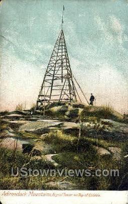 Signal Tower on top of Cobble - Adirondack Mts, New York NY Postcard