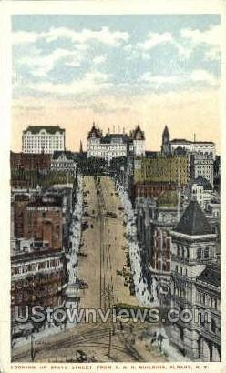 Looking up State Street - Albany, New York NY Postcard